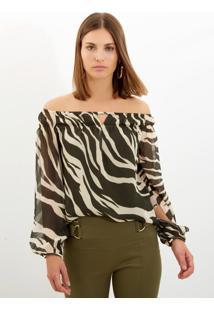 bf3c6b451 ... Blusa Bobô Zebra Seda Estampado Feminina (Estampado, M)