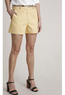Short Feminino Básico Alfaiatado Com Cinto Animal Print Amarelo Claro