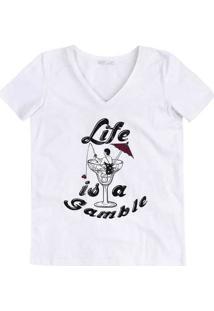 T-Shirt Em Malha De Algodão Com Estampa E Decote V
