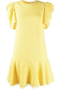 Ermanno Scervino Vestido Godê Com Franzido - Amarelo