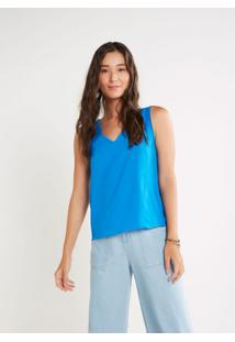Blusa Cantão Decote V Feminina - Feminino-Azul