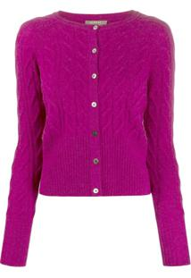 N.Peal Cable Knit Cardigan - Roxo