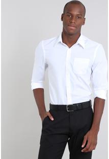 Camisa Masculina Comfort Com Bolso Manga Branca