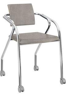 Cadeira Com Rodízios 1713 Cromada Camurça Conhaque Carraro