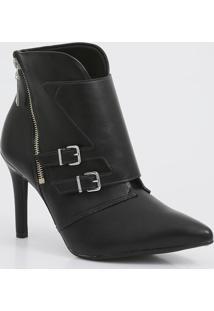 Bota Feminina Ankle Boot Fivela Salto Alto Vizzano