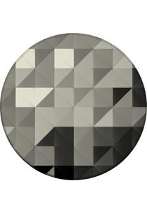 Tapete Love Decor Redondo Wevans Triângulos Cinza 94Cm