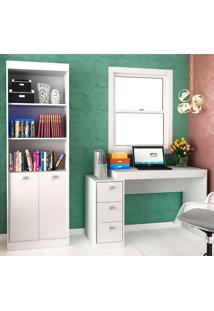Escrivaninha E Estante Com 2 Portas E 3 Gavetas Para Escritório-Ho-2956-Hecol - Branco