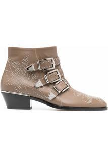 Chloé Ankle Boot Com Tachas E Detalhe De Fivela - Neutro