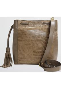 Bolsa Bucket Croco Preta Mariart (Caqui, Único)