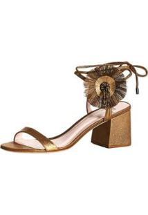 Sandálias Daisy Block Sandal Feminina - Feminino-Dourado