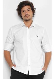 Camisa Reserva Slim Fit Manga Longa Masculina - Masculino-Branco