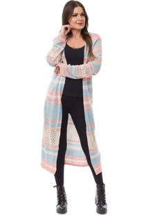 Cardigan Pink Tricot Longo Listrado Azul Claro/Rosa Claro