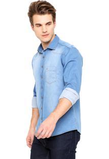 Camisa Jeans Dudalina Reta Bolso Azul