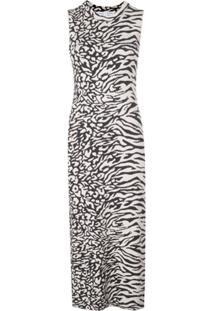 Proenza Schouler White Label Vestido Jacquard Animal - Preto