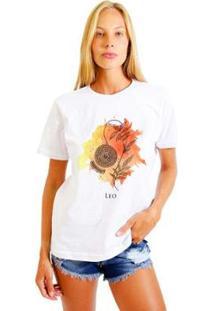 Camiseta Joss Feminina Estampada Signo Leo - Feminino-Branco