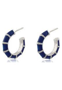 Brinco Viva Jolie Argola Pequena Colors Azul Marinho Ródio