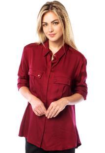 Camisa Manga Longa Carmim Pocket Vinho
