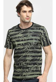 Camiseta All Free Listrada Folhagem Masculina - Masculino-Preto