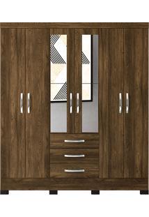 Guarda Roupa Casal Barcelona 6 Portas Com Espelho - Colibri - Canela Rustico / Branco Neve