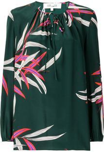 Dvf Diane Von Furstenberg Blusa Estampada De Seda - Verde