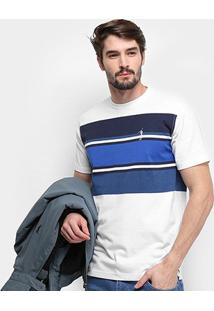Camiseta Aleatory Listrada Logo Bordado Masculina - Masculino-Marinho+Branco