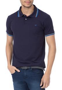 Camisa Polo Colombo Azul Marinho Com Detalhe