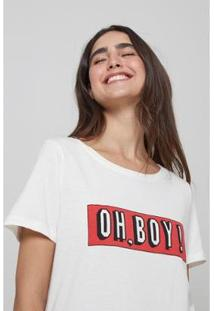 Camiseta Oh, Boy! Feminina - Feminino-Off White