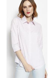 Camisa Listrada Com Botãµes- Off White & Bordã´- Dbz Jdbz Jeans