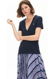Camiseta Lacoste Slim Fit Feminina - Feminino-Azul Navy