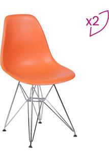 Jogo De Cadeiras Eames Dkr- Laranja & Prateado- 2Pã§Sor Design