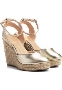 Sandália Anabela Shoestock Espadrille Corda Feminina - Feminino-Dourado