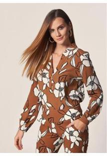 Blusa Gola Estampa Floral Bicolor Argila Feminina - Feminino-Marrom