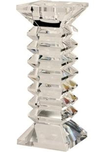 Castiçal De Cristal Zig Zag Grande Para 1 Vela - Unissex