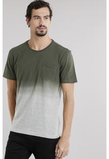 Camiseta Masculina Degradê Com Bolso Manga Curta Decote Careca Verde Militar