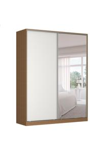 Guarda-Roupa Solteiro Com Espelho Tunas Ii 2 Pt 3 Gv Marrom E Branco