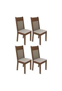 Kit 4 Cadeiras 4280 Madesa Rustic/Crema/Pérola Rustic