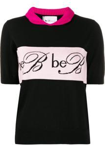 Be Blumarine Blusa De Tricô Com Logo Bordado - Preto