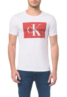 Camiseta Ckj Mc Es Ck Quadrado - Branca - Ggg