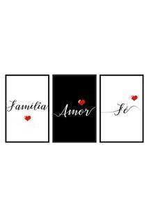 Quadro 40X90Cm Frases Família Amor Fé Moldura Preta Com Vidro Decorativo