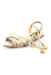 Sandalia Rasteira Love Shoes Bico Folha Amarraçáo Cruzada Areia
