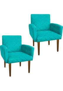... Kit 02 Poltronas Decorativa Veronês Para Sala E Recepção Suede Azul  Tiffany - D Rossi ee5726f119