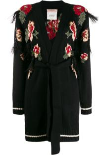 Twin-Set Cardigan Com Estampa Floral - Preto