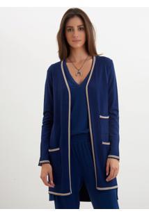 Casaco Le Lis Blanc Vivian Médio Ii Tricot Azul Marinho Feminino (Marine, Pp)