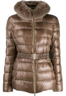 Herno Fur Collar Zip-Up Jacket - Marrom