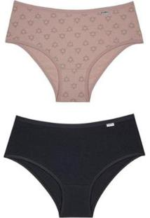 Calcinha Clássica Algodão Del Rio Kit C/2 Feminina - Feminino-Preto+Nude