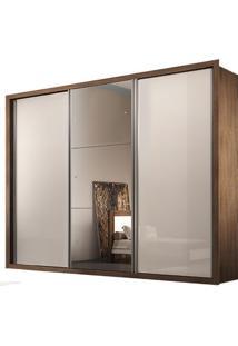 Guarda-Roupa Natal Com Espelho - 3 Portas - 100% Mdf - Café Ou Café Com Offwhite