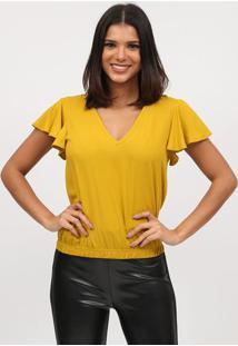 Blusa Lisa Com Franzidos- Amarelo Escuro- Tritontriton