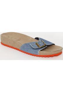 Sandã¡Lia Rasteira Com Jeans & Fivela - Azul Claro & Marrvix