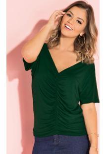 Blusa Verde Com Drapeado Frontal E Decote Em V