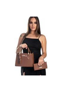 Kit Bolsa + Carteira Feminina Fashion Blogueira Marrom